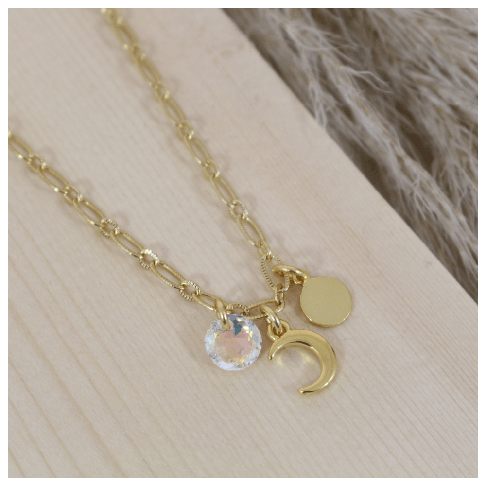 collier demi lune femme or